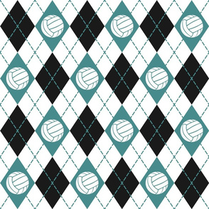teal black white argyle plaid with volleyballs