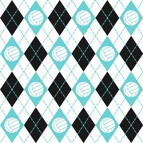 Volleyball themed turquoise black & white argyle plaid pattern