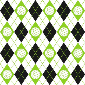 lime black white argyle plaid with volleyballs