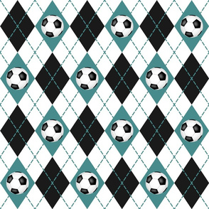 teal black white argyle plaid with soccer balls