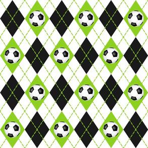 soccer themed lime black white argyle pattern