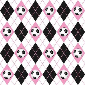soccer themed pink black white argyle plaid pattern