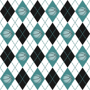 basketball themed teal black white argyle pattern