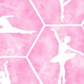 Large Scale Pale Pink Ballet Dancers in Ballerina Poses on Hexagon Tiles