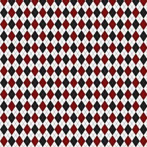 red black white argyle plaid