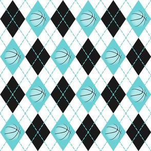 basketball themed turquoise black white argyle pattern