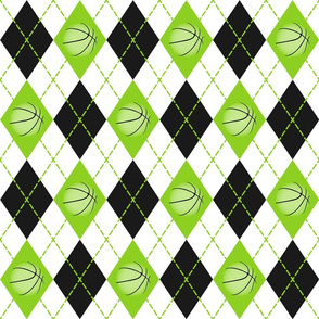 lime black white argyle plaid with basketballs