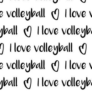 I love volleyball text pattern with hearts - black and white