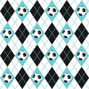 soccer themed turquoise black white argyle pattern