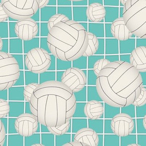 White volleyballs w net detail pattern on teal
