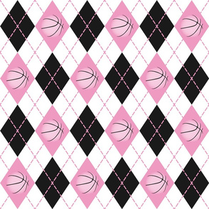 pink black white argyle pattern with basketballs