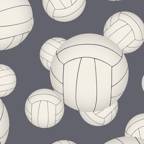 White volleyballs pattern on slate blue - large