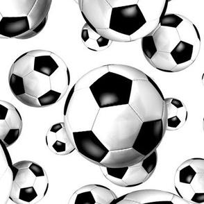 Endless soccer balls pattern on white - large