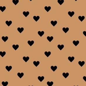 Love lovers minimal hearts basic romantic heart design caramel black