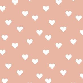Love lovers minimal hearts basic romantic heart design coral pink blush white