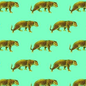 Smaller Scale - Vintage Cheetahs in Mint + Yellow