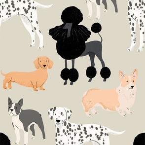 Dogs Pattern - Taupe Large