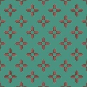 Smaller Scale - New Mexican Zia Sun Symbols in Sage + Terr...