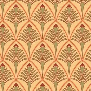 Art Nouveau Deco Poppy Orange Large Repeat