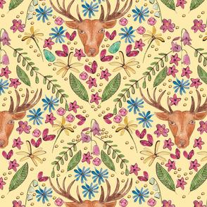 Deer in the meadow cream