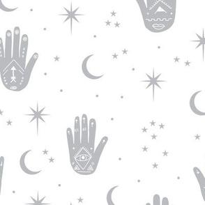 Mystic magic boho Universe prayer hamsa moon phase and stars sweet dreams night gray white