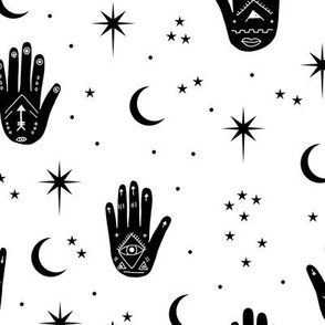 Mystic magic boho Universe prayer hamsa moon phase and stars sweet dreams night monochrome black and white