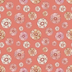 Doodle Flowers Salmon Mini