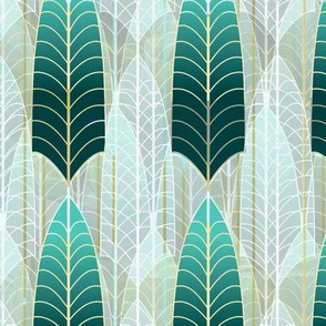 Simple Leaf Skeleton Pine Green Aqua Art Deco -- Light