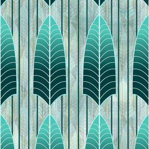 Simple Leaf Skeleton Pine to Aqua Art Deco -- Dark