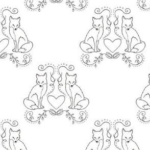 Fox & Heart - Black Fox Outline on White