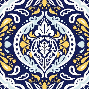 Beatrice Damask - Navy Blue