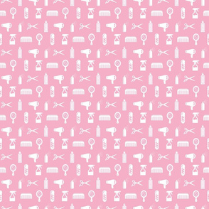 Salon & Barber Hairdresser Pattern in White with Baby Pink Background (Mini Scale)