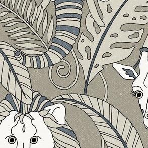 Safari Animals Jumbo - smokey grey/blue