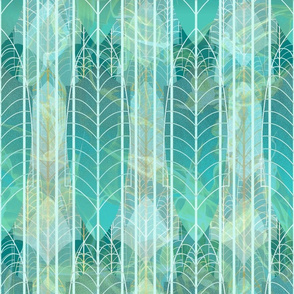 In the Art Deco Mood -- Heavenly Surreal Fantasy Landscape in the Gatsby Style -- Gold, Pine Green, Aqua, and Ice -- Wallpaper, Home Decor