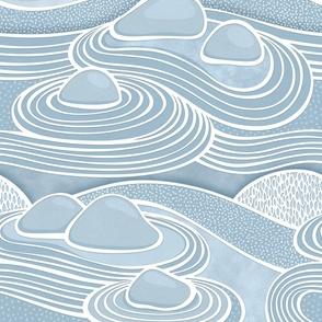 Zen Garden Blue Jumbo- Meditating at the Japanese Rock Garden-Mindful- Calm- Large Scale Wallpaper- Jumbo Scale- Home Decor
