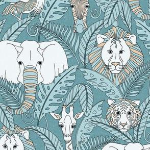 Safari Animals - antique teal/peach
