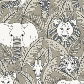 Safari Animals - smokey grey/blue