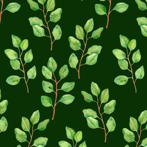 Eucalyptus watercolor pattern on dark green  2