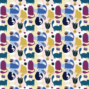 Decorative contemporary funny Cats print with floral elements and geometric shapes