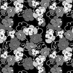 Dancing Flowers in Black and White