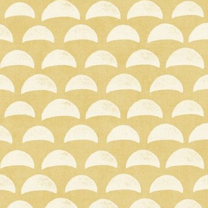 Block Print Pebble Beach in Golden Sandy Yellow and White (xl scale)| Hand block printed pattern of beach pebbles in yellow and white, beach fabric for totes, wraps and swimwear.