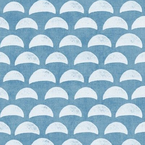 Block Print Pebble Beach in Azure Blue (xl scale)| Hand block printed pattern of beach pebbles in sea blue, beach fabric for totes, wraps and swimwear.