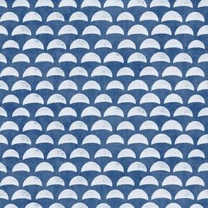 Block Print Pebble Beach in Indigo Blue | Hand block printed pattern of beach pebbles in deep sea blue, beach fabric for totes, wraps and swimwear.