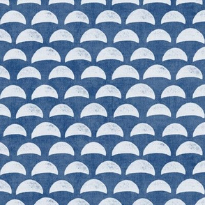 Block Print Pebble Beach in Indigo Blue (large scale) | Hand block printed pattern of beach pebbles in deep sea blue, beach fabric for totes, wraps and swimwear.