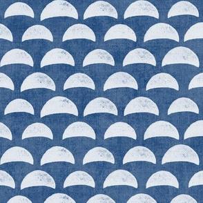 Block Print Pebble Beach in Indigo Blue (xl scale) | Hand block printed pattern of beach pebbles in deep sea blue, beach fabric for totes, wraps and swimwear.