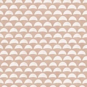 Block Print Pebble Beach in Desert Sand | Hand block printed pattern of beach pebbles in caramel, tan, beach fabric for totes, wraps and swimwear.