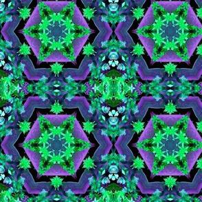 Purple and Green Hexagon Mandala Pattern