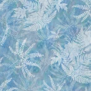 Large Maidenhair Maple and Fern Sunprints on Blue