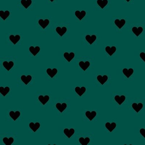 Love lovers minimal hearts basic romantic heart design forest green black