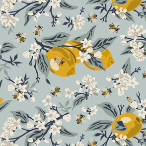 Bees & Lemons - Blue -Large - ROTATED